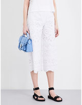 RED Valentino Floral cutout cropped cotton trousers