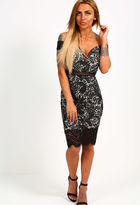 Pink Boutique Versacia Black Lace Bardot Midi Dress