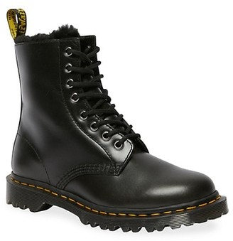 Dr. Martens 1460 Serena Faux Fur-Lined Leather Combat Boots