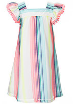 Rare Editions Little Girls 2T-6X Flutter-Sleeve Tassel-Detail Striped Woven Dress