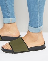 Asos Neoprene Slider Sandals In Khaki