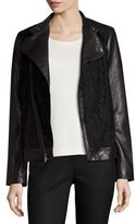 Neiman Marcus Lace-Panel Leather Moto Jacket, Black