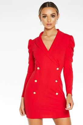 Quiz Red Puff Sleeve Blazer Dress