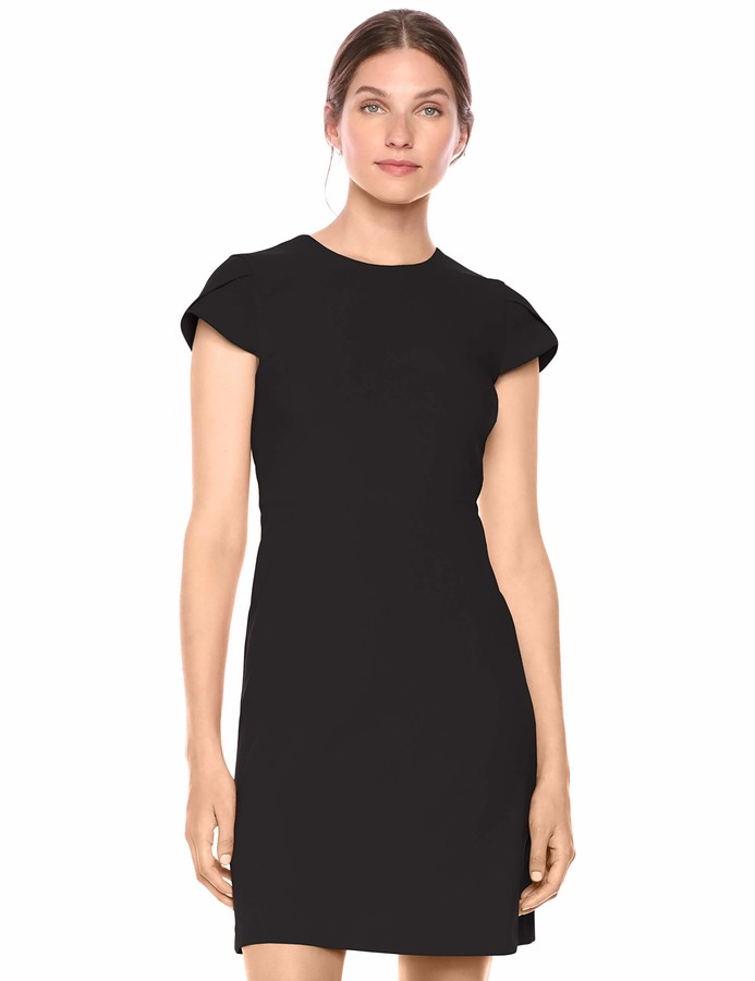 Lark & Ro Amazon Brand Women's Fluid Crepe Tulip Sleeve Dress