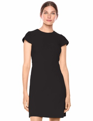 Lark & Ro Fluid Crepe Tuplip Sleeve Dress Black 2