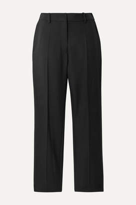 Racil Aries Satin-trimmed Wool-crepe Tapered Pants - Black