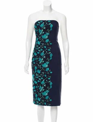 Lela Rose Strapless Mini Dress Navy