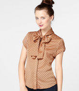 Fred Flare Peach Polka Dot Tie Top