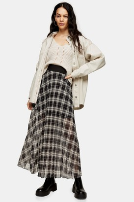 Topshop Black and White Check Pleated Maxi Skirt