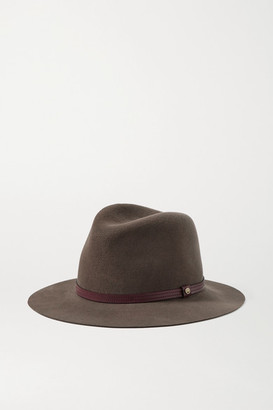 Rag & Bone Leather-trimmed Wool-felt Fedora - Brown