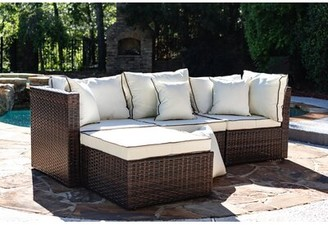Three Posts Burruss Patio Sectional with Cushions Frame Color: Brown