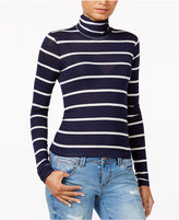 chelsea sky Striped Turtleneck, Only at Macy's