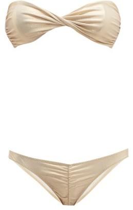 Lisa Marie Fernandez Alexia Ruched Metallic Bikini - Womens - Gold
