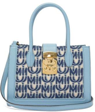 Miu Miu Madras Small Logo-jacquard Leather-trim Bag - Womens - Blue White