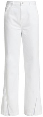 J Brand Joan High-Rise Braided Split Hem Wide-Leg Jeans