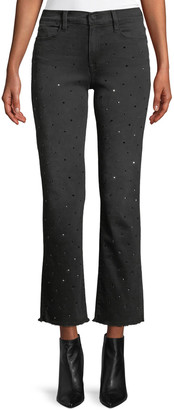 Frame Le High Crystal-Stud Straight-Leg Cropped Jeans