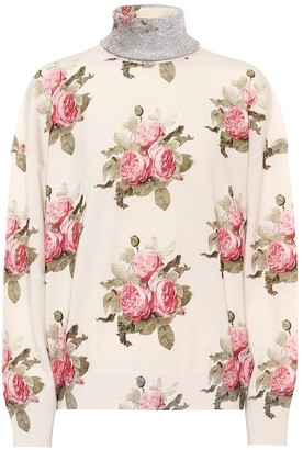 Paco Rabanne Floral wool-blend turtleneck sweater