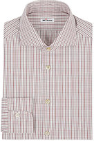 Kiton Men's Checked Shirt-BURGUNDY
