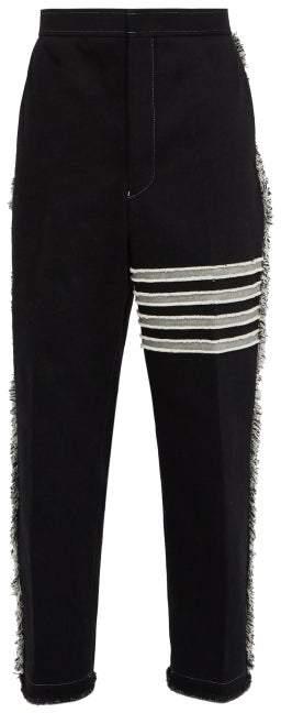 Thom Browne Fringed Straight Leg Jeans - Mens - Black