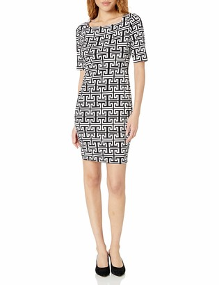 Tiana B Women's Elbow Sleeve Printed Dress with Exposed Back Zipper