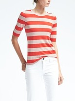 Banana Republic Stripe Silk Cashmere Elbow-Sleeve Pullover