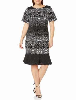 Adrianna Papell Women's Size Plus Lace Majesty Drp WST Fit N FLR Black/Multi 18