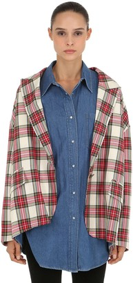 pushBUTTON Layered Plaid Jacket & Denim Shirt