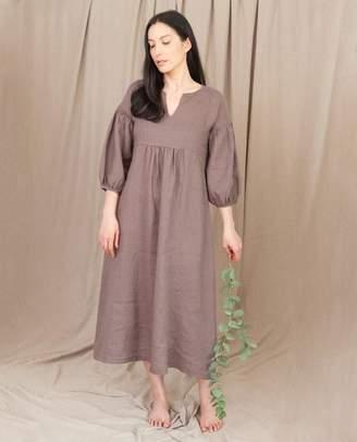 Beaumont Organic Andreia May Linen Dress In Khaki - Khaki / Extra Small
