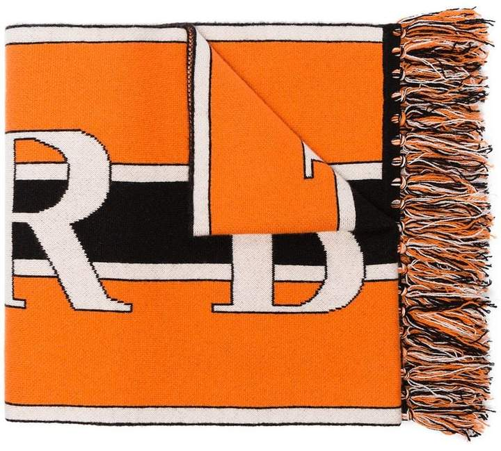 Burberry orange, black and white logo knit cashmere scarf