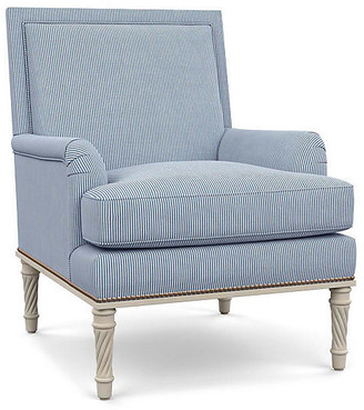Bunny Williams Home Azure Accent Chair - Blue Stripe