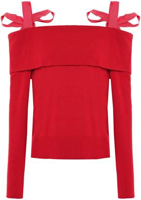 ADEAM Cold-shoulder Bow-detailed Ribbed-knit Top