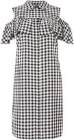 Therapy Lacey gingham cold shoulder frill dress