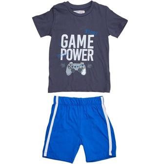 MINOTI Boys Junior Two Piece Game Power Top/Blue Shorts Set Blue