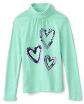 Lands' End Little Girls Long Sleeve Graphic Knit Turtleneck-Multi Sequin Heart