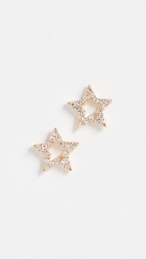 Ef Collection 14k Gold Diamond Open Star Stud Earrings