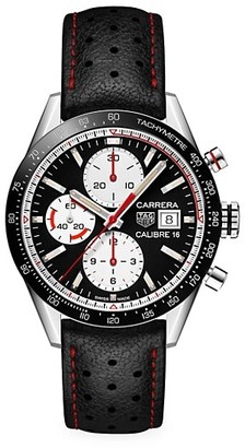 Tag Heuer Carrera 41MM Calibre 16 Ceramic Black Leather Strap Automatic Chronograph Watch