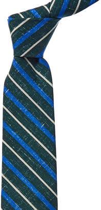 Isaia Grass Green Stripe Silk-Blend Tie