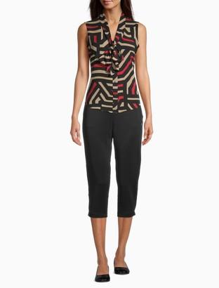 Calvin Klein Printed Tie-Front V-Neck Sleeveless Top