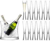 LSA International Moya Flutes & Champagne Bucket, Set of 12