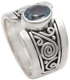 Novica Handmade Sterling Silver 'Blue Karma' Blue Topaz Ring
