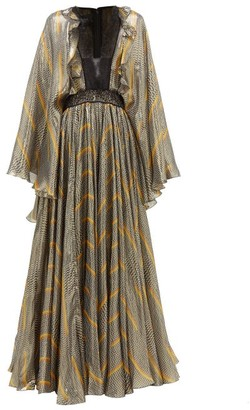 Giambattista Valli Geometric Print Lace And Silk Blend Gown - Womens - Black Gold