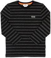 HUGO BOSS STRIPED COTTON-BLEND LONG-SLEEVE T-SHIRT
