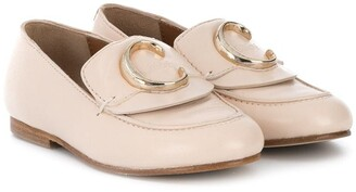 Chloé Kids C buckle leather loafers