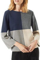 Jigsaw Gingham Boxy Jumper, Navy/Multi