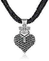King Baby Studio Black Spinel Necklace with Large 3D Pave Black Cubic-Zirconia Crowned Heart