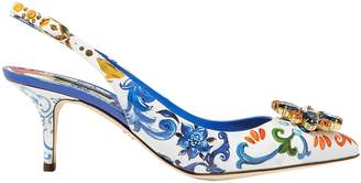 Dolce & Gabbana Crystal-embellished Printed Patent-leather Slingback Pumps