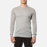 HUGO Men's San Lorenzo Crew Knitted Jumper Open Grey