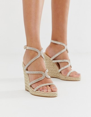 Office Honeydew silver embellished espadrille wedges