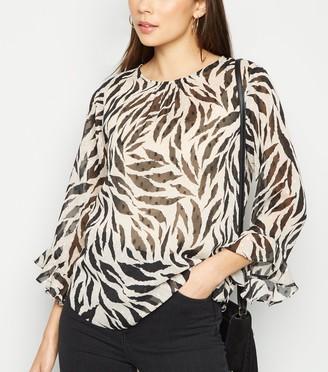 New Look Zebra Print Chiffon Blouse