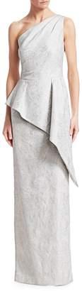 Teri Jon One-Shoulder Asymmetric Peplum Gown